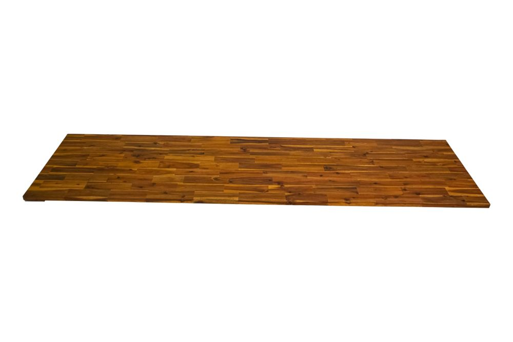 kitchen laminate accent rugs quartz countertops butcher block more the home depot 96 inch x 25 5 1 acacia wood countertop golden teak