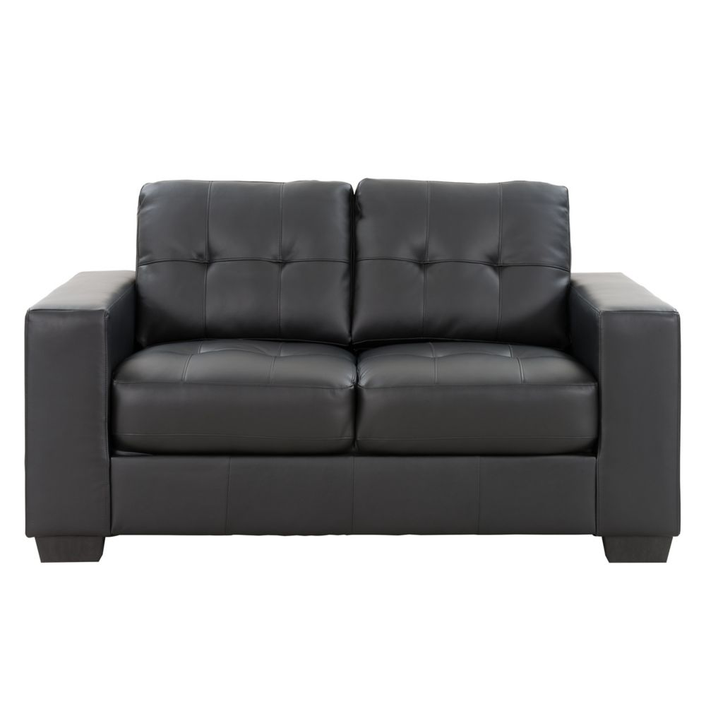 sectional sofa couch gray slipcover sofas sectionals the home depot canada corliving clubtufted black bonded leather loveseat