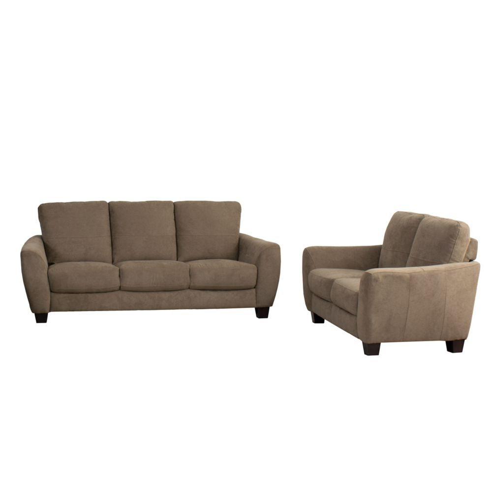brown fabric sofa sofas on ebay london corliving jazz 2 piece chenille set the home