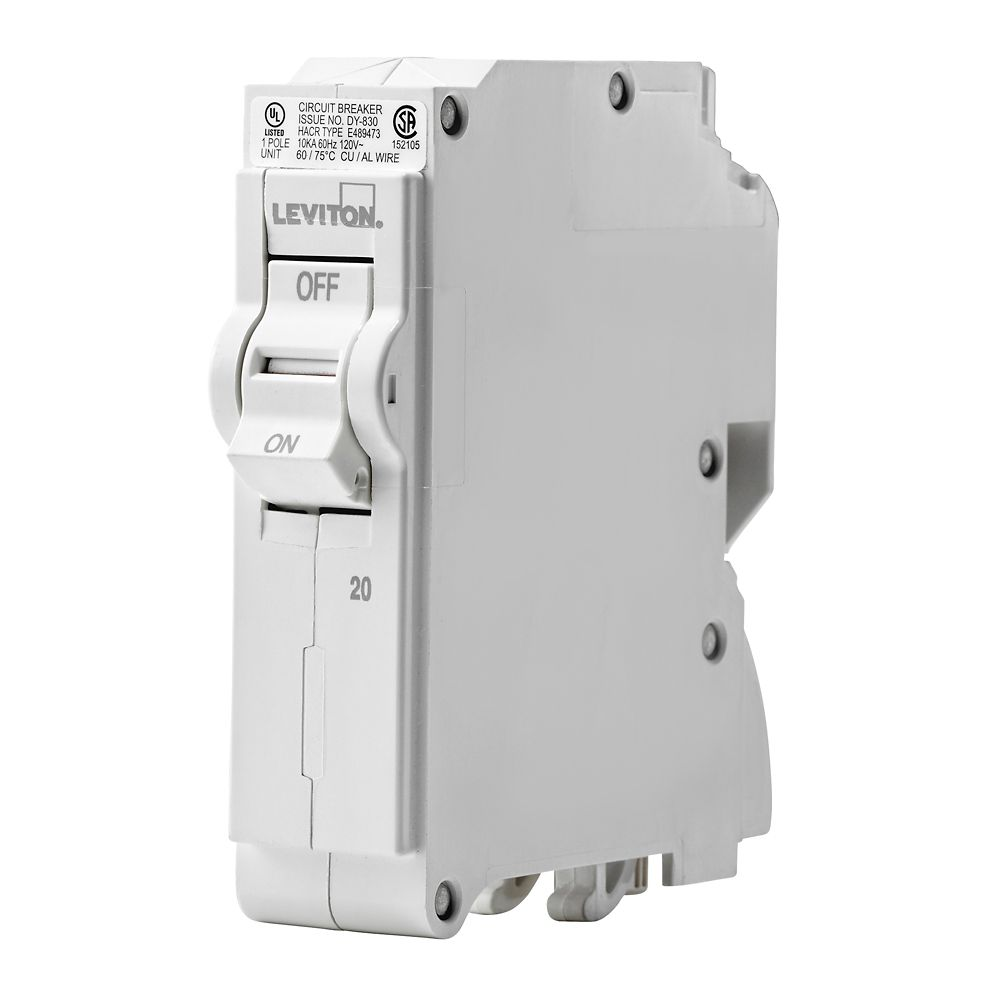 leviton 1 pole 20a 120v plug on circuit breaker [ 1000 x 1000 Pixel ]