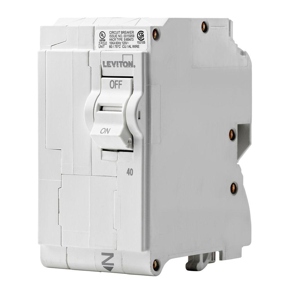 leviton 2 pole 40a 120 240v plug on circuit breaker [ 1000 x 1000 Pixel ]