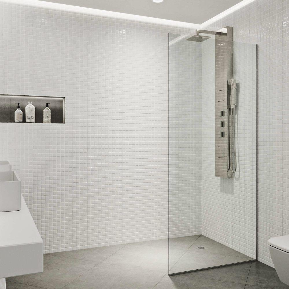 Vigo Zenith 34x74 Frameless Fixed Glass Panel Shower