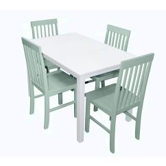 Kitchen Dining Set Trim Walker Edison 5 Piece White Wood Sage The