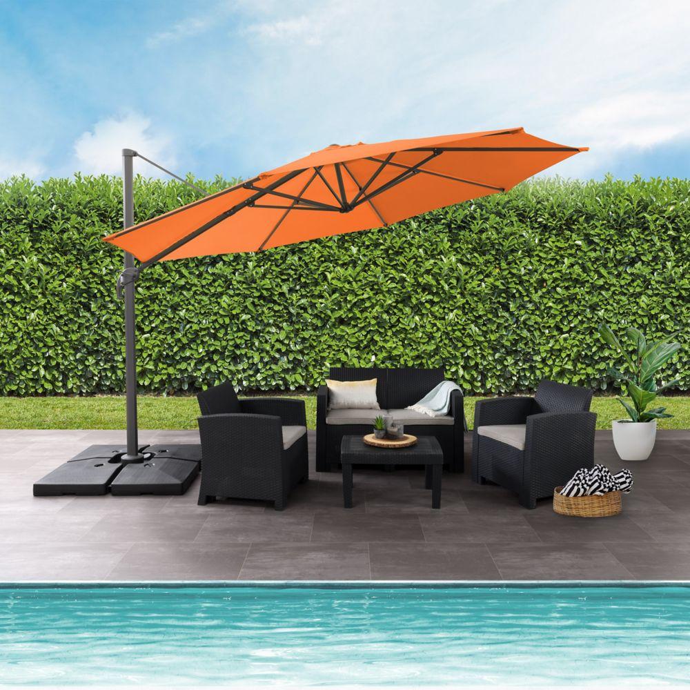 Corliving 11.5 Ft. Uv Resistant Deluxe Offset Orange Patio Umbrella Home Depot Canada
