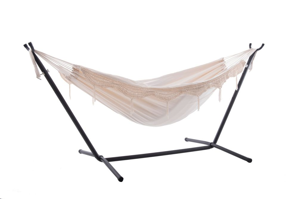 hammock chair stand calgary unusual leather hammocks patio swings more the home depot canada vivere combo double deluxe natural with fringe