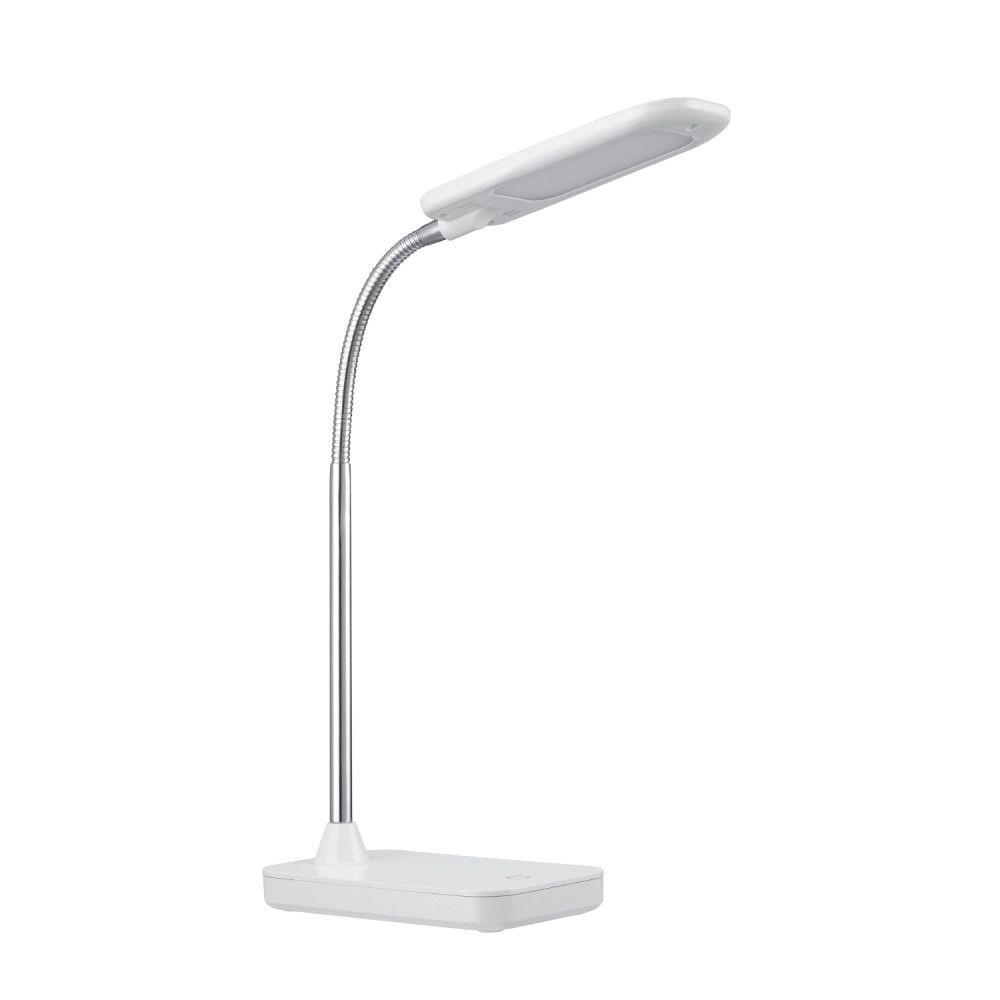lampe de bureau a ampoule del integree fini blanc et chrome