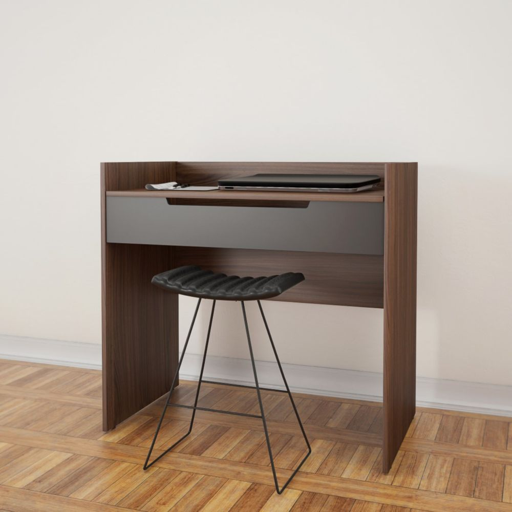 Nexera Alibi VanityDesk Walnut and Charcoal  The Home
