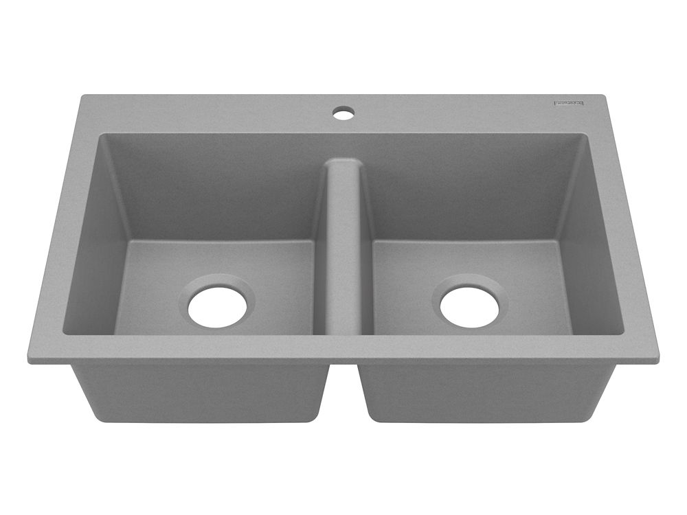 gray kitchen sink average cost of small remodel sinkology whitney drop in or undermount granite composite 33 double bowl graphite the home depot canada