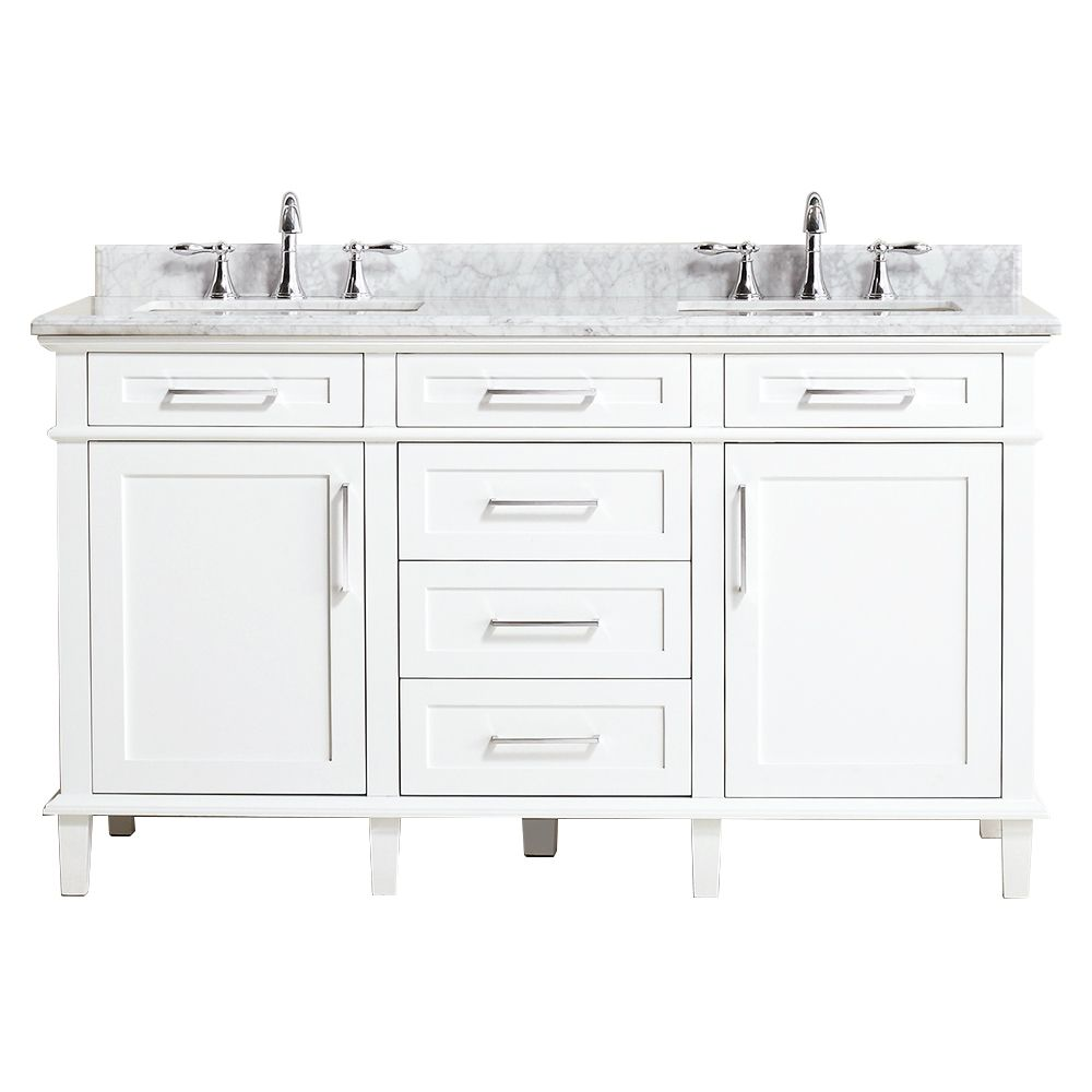 Home Decorators Collection Sonoma 60 Inch W X 22 Inch D Double Bath Vanity In White With C The Home Depot Canada