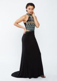 Bejeweled Split Waist High Neck Prom Dress | Going Out ...
