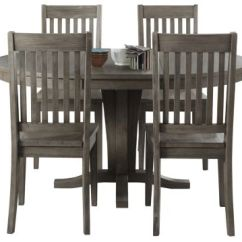 Grey Kitchen Chairs Vintage Outdoor Metal Dining Room Furniture Sets Art Van Home Huron Pedestal 5pc Set Slat Large
