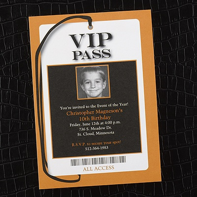 All Access VIP Pass  Photo Birthday Invitation  Bright White  Theme Parties  Carlson Craft