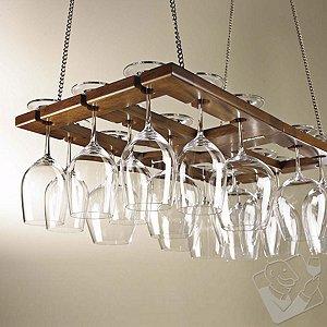 Hanging Mahogany Wine Glass Rack