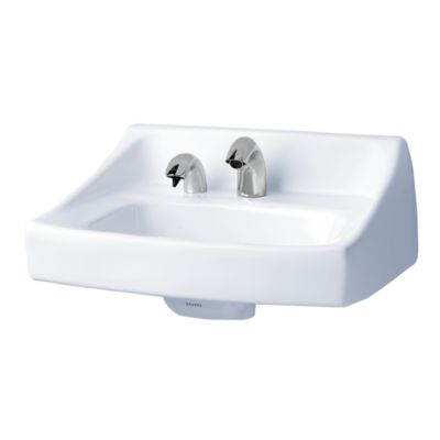commercial wall hung lavatory with soap
