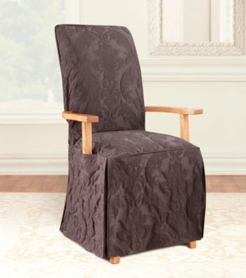 Sure fit 174 matelasse damask dining room chair cover with arms