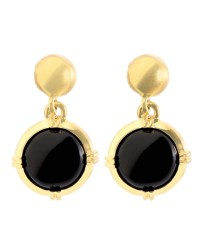 Gold and Black Button Drop Earrings - BB AU Ecommerce