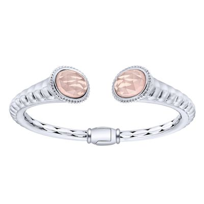 925 Silver And Stainless Steel Scalloped Hinged Cuff