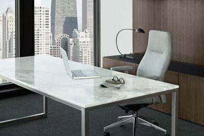 Credentials Freestanding Marble Desk  GunlockeOffice