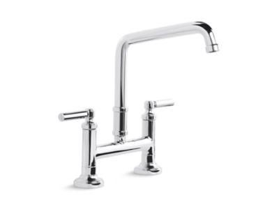 quincy deck mounted bridge faucet lever handles p25001 00 kitchen faucets kallista
