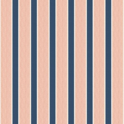Navy Blue and Coral Stripe Fabric