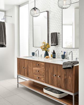 Linear Double Sink Vanity In Walnut Room Board