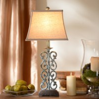 Metal Blue Scroll Table Lamp | Kirklands