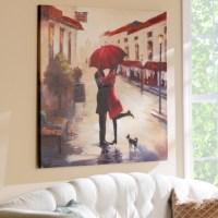 Red Umbrella Couple Canvas Art Print   Kirklands