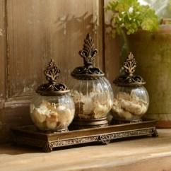 Decorative Glass Jars For Kitchen Sheers Gold Filigree Jar Set Of 3 Kirklands