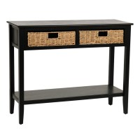 Black Beadboard 2-Drawer Console Table | Kirklands