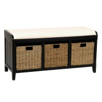 Black Beadboard Storage Bench | Kirklands