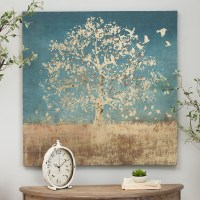 Golden Bird Tree Canvas Art Print