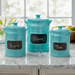 Canisters Kitchen Unfinished Wall Cabinets Canister Sets Kirklands Turquoise Chalkboard Set Of 3