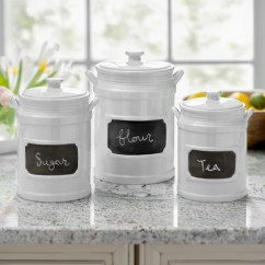 Canisters Kitchen Ikea Countertop Installation Canister Sets Kirklands White Chalkboard Set Of 3