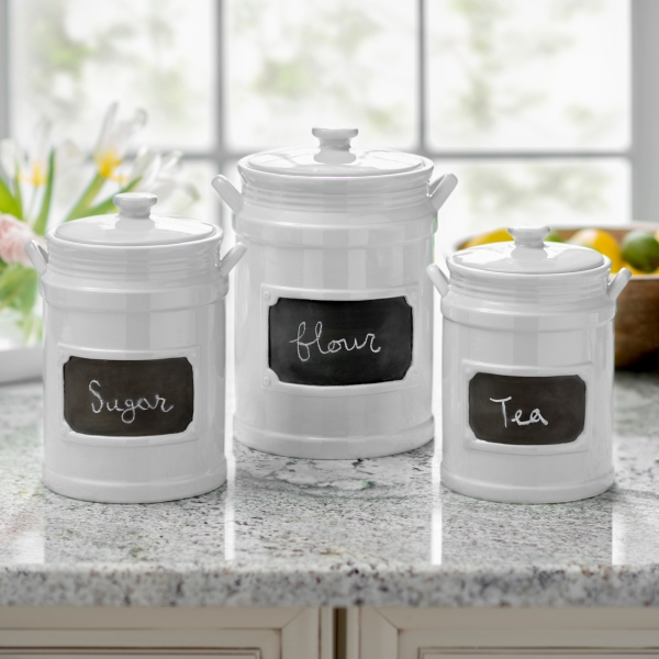 kitchen canister 36 inch cabinet canisters sets kirklands white chalkboard set of 3