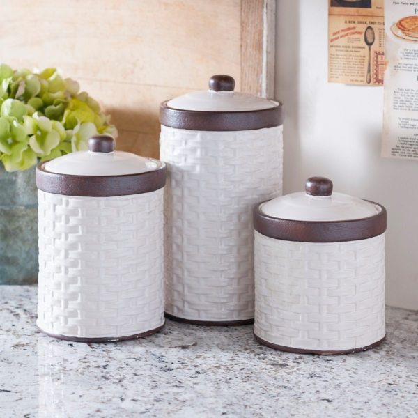 canisters kitchen wall racks canister sets kirklands cream woven set of 3