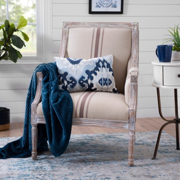 accent chairs for living room sears lift arm kirklands mckenna tan stripe chair