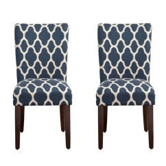 Parson Chairs Cheap Upholstered Rocking Chair Slipcover Dining Room Kirklands Navy Geometric Quatrefoil Parsons Set Of 2