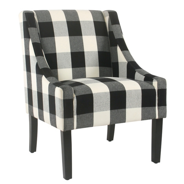 black and white accent chairs with arms orange egg chair arm kirklands buffalo check swoop