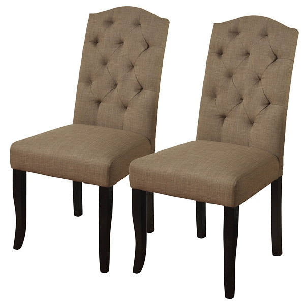 parsons chairs dx racing gaming chair dining room kirklands beige linen tufted back set of 2