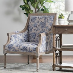 Accent Chair With Arms Small Table 2 Chairs For Kitchen Arm Kirklands Mckenna Blue Floral
