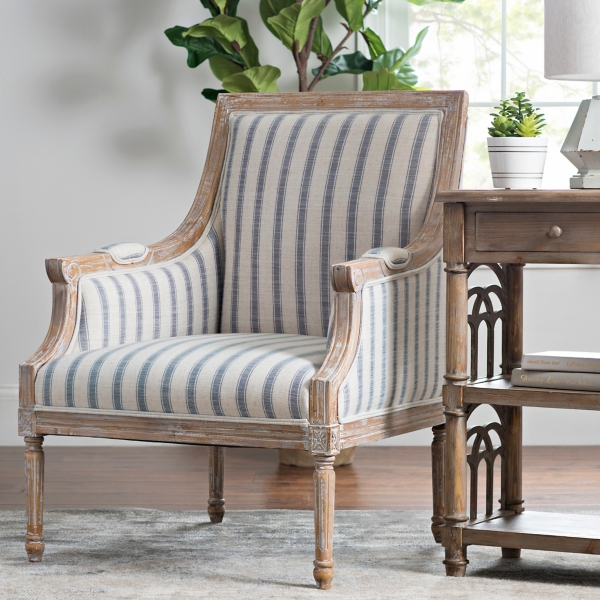 accent chairs with arms hardwood dining arm kirklands mckenna blue striped chair