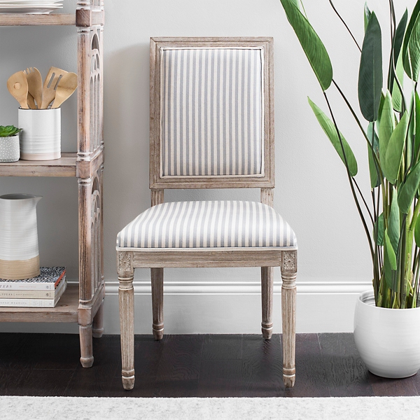 striped dining chair garden cushions room chairs kirklands gray stripe rectangular louis