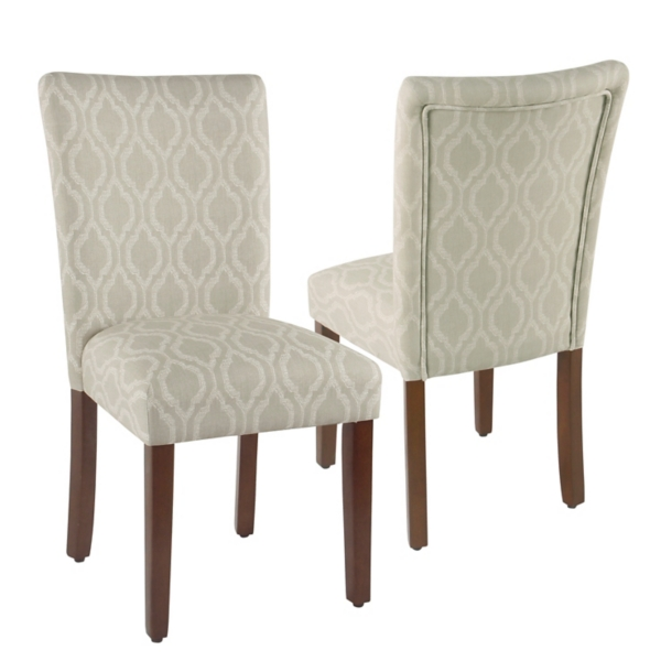 parson chairs purple upholstered chair dining room kirklands tan geometric parsons set of 2