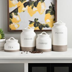 Kitchen Canister Showrooms Canisters Sets Kirklands Two Tone Modern Farmhouse Set Of 4