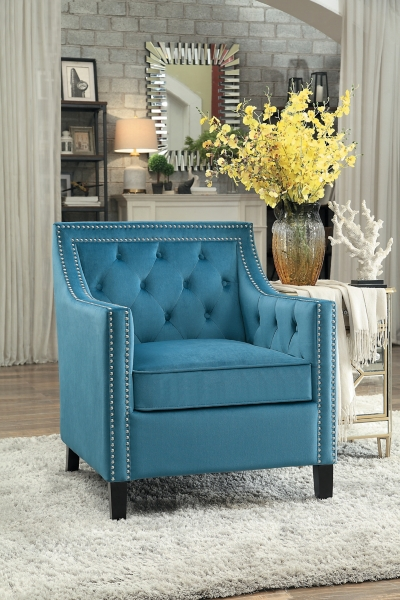 tufted nailhead chair glider australia blue velvet button accent kirklands