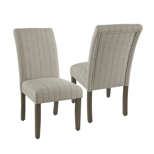 small scale upholstered dining chairs chair design plans room kirklands gray stripe rolled back set of 2