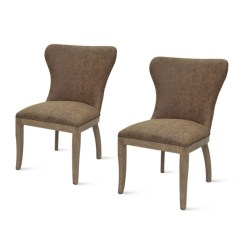 Kirklands Dining Chairs Computer Chair Staples Room Brown Devon Faux Leather Set Of 2