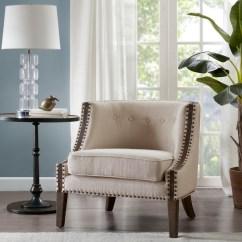 Cheap Accent Chair Baby Sleeping Chairs Arm Kirklands Ivory Reena Barrel Double Nailhead