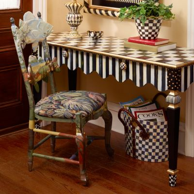 farm style kitchen sliding shelves for cabinets mackenzie-childs | courtly stripe console table