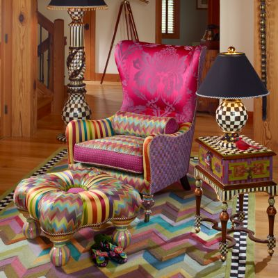 floral upholstered chair flip and fold high mackenzie-childs | kaleidoscope wing